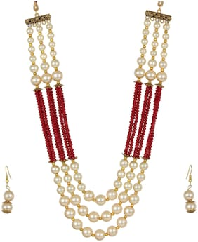 Zooniv Gold aplated Necklace Pearl Set For Women and girls(Maroon)