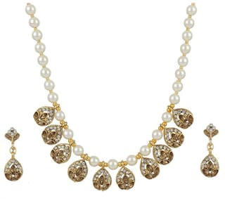Zooniv Kundan & Pearl Necklace Jewellery Set for Women and Girls
