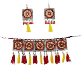 Zooniv Oxidized Red & Yellow Choker Necklace Set for Women