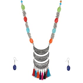 Zooniv Oxidized Multi Colour Stylish Necklace Set for Women and Girls