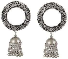 Zooniv Oxidised Silver Afghani Tribal Earring for Women and Girls