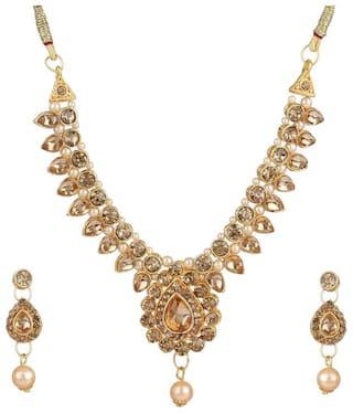 Zooniv Party Wear Jewellery Set for Women (Golden)