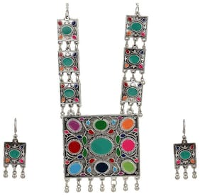 Zooniv Silver Plated Necklace Set For Women