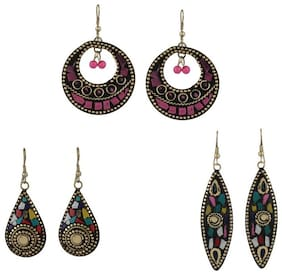 Zooniv Tibetan Traditional Stylish Combo Gold Plated Drop Earrings For Women & Girls(Multi-Colour)
