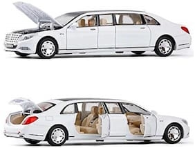 1:32 Maybach S650 Pull Back Metal Diecast Car Model with 6 Door Open, Sound Light Toy Vehicles for Children