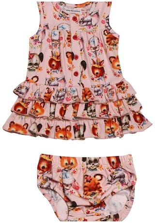 becde3cc399b Buy Nino Bambino Baby Girl Cotton Solid Frock With Bloomer - Multi ...
