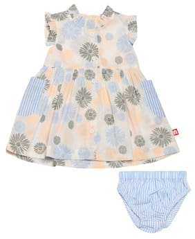 Nino Bambino Baby girl Cotton Solid Frock with bloomer - Multi