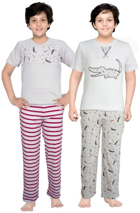 Junior Boxer Cotton Printed Top & Bottom Set - Multi