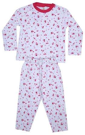 KABOOS Girl's Cotton Printed Full sleeves Top & pyjama set - White
