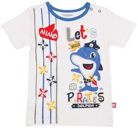Nino Bambino Cotton Solid T shirt for Baby Boy - White