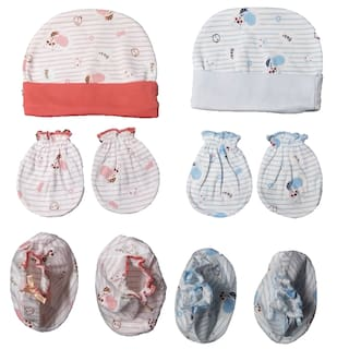 29976b257 100% Soft Cotton New Born Baby Caps Booties Mittens Combo Set (0-3 Month)