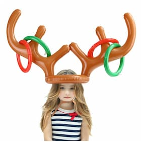 10X Inflatable Reindeer Antler Hat Ring Christmas Party Toss Fun Game Gift Toys