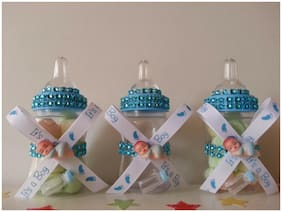 12 Blue Fillable Bottles with Plastic Baby Shower It's a Boy Favors Prizes Game