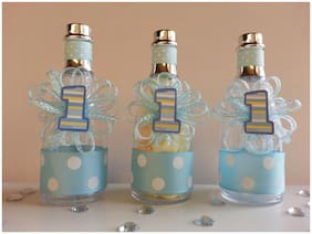 12 Blue Fillable Champagne Bottles Boy First Birthday Favors Prizes Decorations