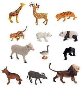 12 pcs Wild and Farm Animal Sets for Kids Medium Size (Animals Color May Vary Pack to Pack)