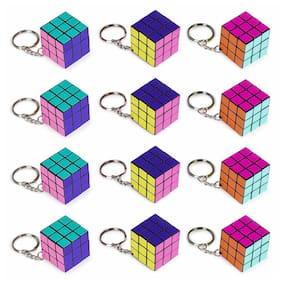 "12 Piece Party Pack of Mini 1.25"" Retro 80s Neon Puzzle Cube Keychain Toys - Gre"