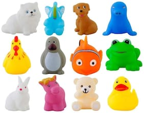 12 Piece Toddler Baby Bathtub Bathing Chu Chu Squeeze Bath Toys Non-Toxic BPA Free, Animal Shape (Color May Vary)