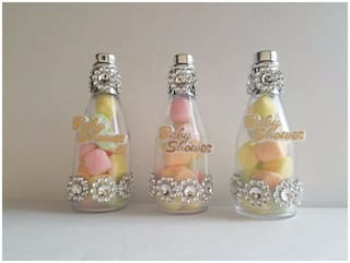12 Silver Fillable Champagne Bottles Baby Shower Favors It's a Girl Decorations