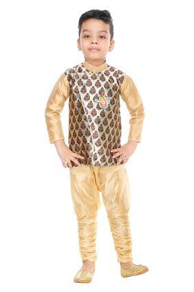 BURBN Boy Art Silk Self Design Sherwani - Multi