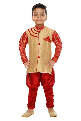 BURBN Boy Art silk Self design Sherwani - Multi