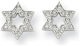 14K White Gold CZ Star of David Stud Earrings Push Back Madi K Childrens Jewelry