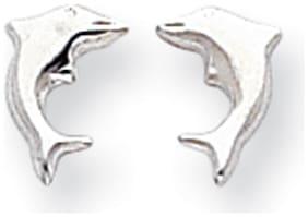 14K White Gold Open Back Dolphin Stud Earrings Push Back Madi K Child's Jewelry