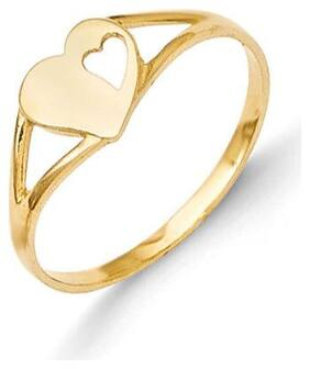 14K Yellow Gold Double Heart Baby Ring Size 2 Madi K Children's Jewelry