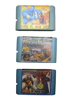 16 Bit Video Game Cassette Including Games Like Spiderman , Wrestle Mania And Aladdin