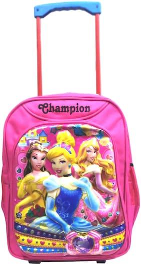 17 Inch  Kid's Princess Waterproof Polyester Trolley Hybrid Backpack (Pink)