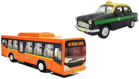 2 Combo Low Floor Bus & Ambassador Taxi Toys kit (Colour May Vary as per Availability)