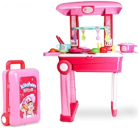 2 in 1 Little Chef Kids Kitchen Play Set with Light & Sound Cooking Kitchen Set Play Toy.