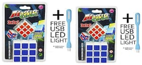 2 in 1 Magic Cube 3x3x3 Sticker-less Rubik's Cube Puzzle (1Big+1 Small) with Free USB Light (Combo + Combo) Hurry (Pack of 2)