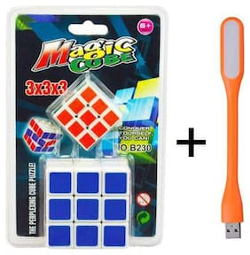 2 in 1 Magic Cube 3x3x3 Sticker-less Rubik's Cube Puzzle (1Big+1 Small) with Free USB Light