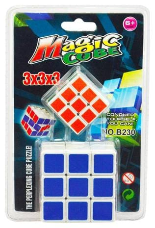 2 in 1 Magic Cube 3x3x3 Sticker-less Rubik's Cube Puzzle (1Big+1 Small)
