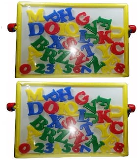 2 in 1 Magnetic Educational Board with Alphabets & Numbers (multicolor) pack of 2