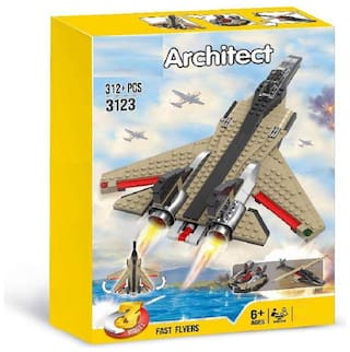 3 in 1 Military Fighter Fast Flyer Model Building Blocks Set Toy (312+ PCS)