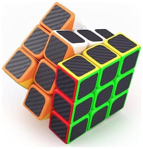 3 x 3 x 3 High Speed Carbon Fiber Sticker Neon Colors Magic Rubik Cube By Signomark