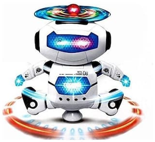 360 deg Rotate Naughty Dancing Robot with Flashing Ligths and Music for Kids By Signomark.