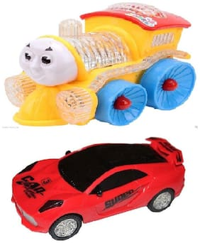 3d Light Car with musical mini train Lights, Bump And Go Action