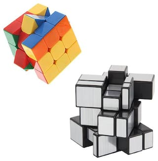 3x3x3 And Sliver Mirror Stickerless High Speed Magic Rubic Cube By Signomark Pack Of - 2.