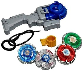 4 Beyblade Set with Handle Launcher Metal Fighters Fury Battle Blade 4D System Toy Indoor Competition Kids Tops Spinning Bey Blade Top