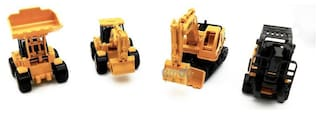4 Friction Powered Construction Site Vehicle Play-set Toy with Road Accessories