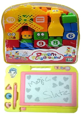 40 pcs. Building Blocks with multicolor Kids Drawing Writing Board Magic Slate