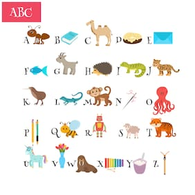 5 Ace Alphabet Chart With Image Wall Sticker Paper Poster