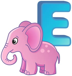5 Ace Alphabet Chart Of E For Elephant Wall Sticker Paper Poster