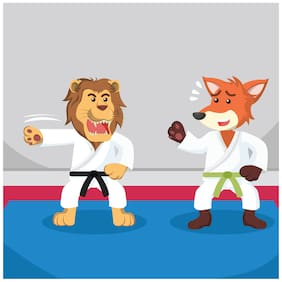 5 Ace Animal Karate Wall Sticker Paper Poster