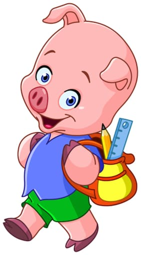 5 Ace Piggy With School Bag Wall Sticker Paper Poster
