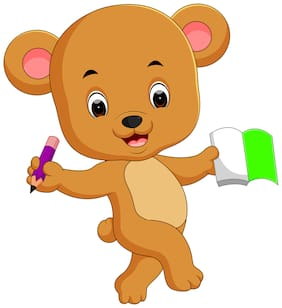 5 Ace Studying Teddy Wall Sticker Paper Poster