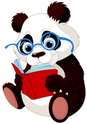 5 Ace Sweet Panda Reading Wall Sticker Paper Poster