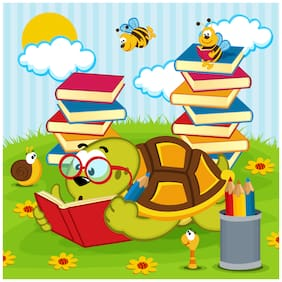 5 Ace Turtle Studying Wall Sticker Paper Poster